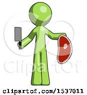 Green Design Mascot Man Holding Large Steak With Butcher Knife