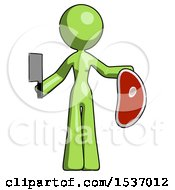 Green Design Mascot Woman Holding Large Steak With Butcher Knife
