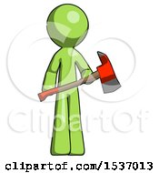 Green Design Mascot Man Holding Red Fire Fighters Ax