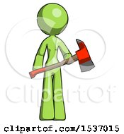 Green Design Mascot Woman Holding Red Fire Fighters Ax