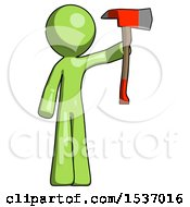 Green Design Mascot Man Holding Up Red Firefighters Ax