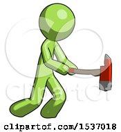 Green Design Mascot Man With Ax Hitting Striking Or Chopping
