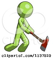 Green Design Mascot Man Striking With A Red Firefighters Ax