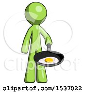 Green Design Mascot Man Frying Egg In Pan Or Wok