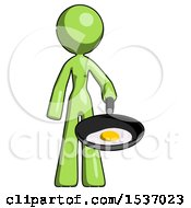 Green Design Mascot Woman Frying Egg In Pan Or Wok