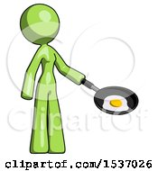 Green Design Mascot Woman Frying Egg In Pan Or Wok Facing Right