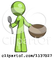 Green Design Mascot Man With Empty Bowl And Spoon Ready To Make Something