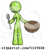 Green Design Mascot Woman With Empty Bowl And Spoon Ready To Make Something