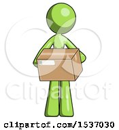 Green Design Mascot Woman Holding Box Sent Or Arriving In Mail