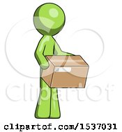 Green Design Mascot Man Holding Package To Send Or Recieve In Mail