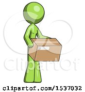 Green Design Mascot Woman Holding Package To Send Or Recieve In Mail