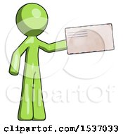 Green Design Mascot Man Holding Large Envelope