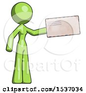 Green Design Mascot Woman Holding Large Envelope