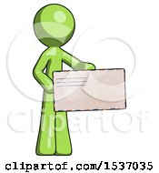 Green Design Mascot Man Presenting Large Envelope