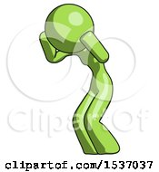 Green Design Mascot Woman With Headache Or Covering Ears Facing Turned To Her Left