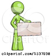 Green Design Mascot Woman Presenting Large Envelope