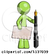 Green Design Mascot Man Holding Large Envelope And Calligraphy Pen
