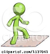 Green Design Mascot Man On Postage Envelope Surfing