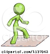 Green Design Mascot Woman On Postage Envelope Surfing