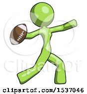 Green Design Mascot Woman Throwing Football