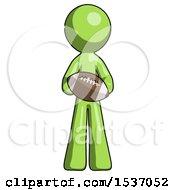 Green Design Mascot Man Giving Football To You