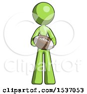 Green Design Mascot Woman Giving Football To You