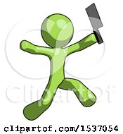 Green Design Mascot Man Psycho Running With Meat Cleaver