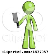 Green Design Mascot Woman Holding Meat Cleaver