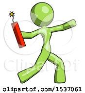 Green Design Mascot Woman Throwing Dynamite