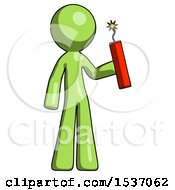 Green Design Mascot Man Holding Dynamite With Fuse Lit