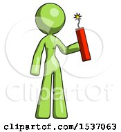 Green Design Mascot Woman Holding Dynamite With Fuse Lit