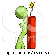 Green Design Mascot Man Leaning Against Dynimate Large Stick Ready To Blow