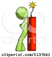 Green Design Mascot Woman Leaning Against Dynimate Large Stick Ready To Blow