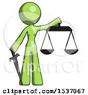 Green Design Mascot Woman Justice Concept With Scales And Sword Justicia Derived