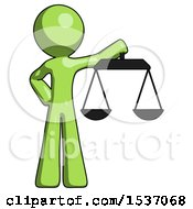 Green Design Mascot Man Holding Scales Of Justice