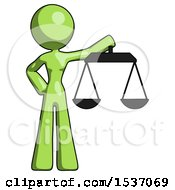Green Design Mascot Woman Holding Scales Of Justice