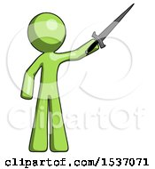 Green Design Mascot Man Holding Sword In The Air Victoriously