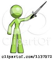 Green Design Mascot Woman Holding Sword In The Air Victoriously