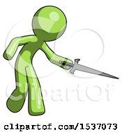 Green Design Mascot Man Sword Pose Stabbing Or Jabbing