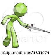 Green Design Mascot Woman Sword Pose Stabbing Or Jabbing