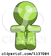 Green Design Mascot Man Sitting With Head Down Facing Forward