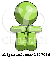 Green Design Mascot Woman Sitting With Head Down Facing Forward