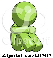 Green Design Mascot Man Sitting With Head Down Facing Angle Right