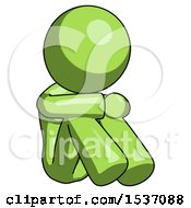 Green Design Mascot Woman Sitting With Head Down Facing Angle Right