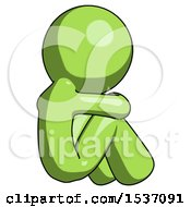 Green Design Mascot Man Sitting With Head Down Back View Facing Right