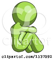 Green Design Mascot Woman Sitting With Head Down Back View Facing Right