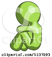 Green Design Mascot Man Sitting With Head Down Back View Facing Left
