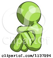 Green Design Mascot Woman Sitting With Head Down Back View Facing Left