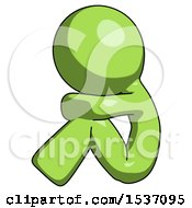 Green Design Mascot Man Sitting With Head Down Facing Sideways Left