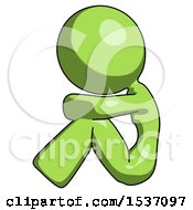 Green Design Mascot Woman Sitting With Head Down Facing Sideways Left